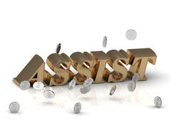 ASSIST - inscription of gold letters on white background - stock illustration