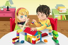 Kids playing with toys Stock Illustration