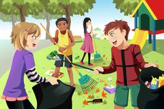 Stock Illustration of Volunteer kids