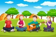 Happy teenagers having fun - stock illustration