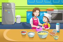 Mother daughter baking Stock Illustration