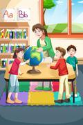 Kindergarten teacher and students - stock illustration
