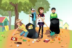 Volunteer kids Stock Illustration