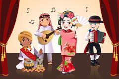 Multi-ethnic kids performing - stock illustration