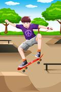 Happy kid playing skateboard - stock illustration