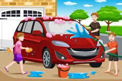 Father and his kids washing car - stock illustration