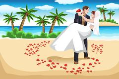 Beach wedding - stock illustration