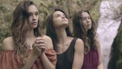 Closeup Of 3 Beautiful Models Posing By Waterfall In Lush Forest (Slow Motion) - stock footage