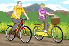 Stock Illustration of Senior riding bicycles