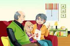 Grandparents and grandaughter reading - stock illustration