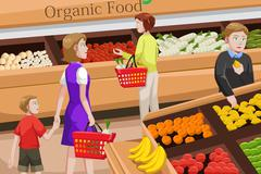 People shopping for organic food - stock illustration
