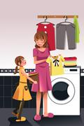 Mother daughter doing  laundry Stock Illustration