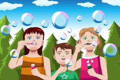 Kids blowing bubbles - stock illustration