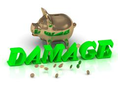 Stock Illustration of DAMAGE- inscription of green letters and gold Piggy on white background