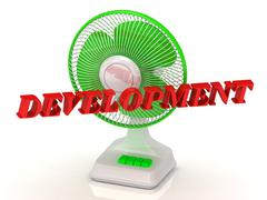 DEVELOPMENT- Green Fan propeller and bright color letters on a white backgrou - stock illustration