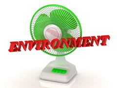 ENVIRONMENT- Green Fan propeller and bright color letters on a white backgrou Stock Illustration