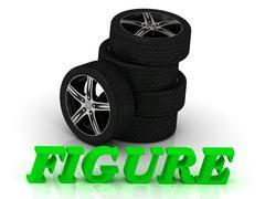 FIGURE- bright letters and rims mashine black wheels on a white background - stock illustration