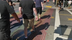 Rainbow Painted Crosswalk in Castro District  	 - stock footage