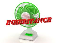 INHERITANCE- Green Fan propeller and bright color letters on a white backgrou - stock illustration
