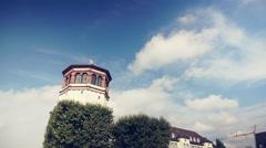 Schlossturm in Oldtown of Düsseldorf Germany Stock Footage