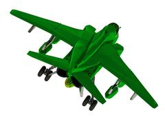 Military jet airplane with bomb during airshow on white background - stock illustration