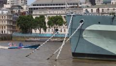 Close-up of HMS Belfast battle ship and and anchors Stock Footage
