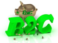 B2C - big bright green word, gold Piggy and money on white background - stock illustration