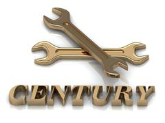 CENTURY- inscription of metal letters and 2 keys on white background - stock illustration