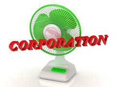 CORPORATION- Green Fan propeller and bright color letters on a white backgrou Stock Illustration
