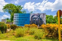 Stock Photo of BAY OF PIGS, CUBA - SEPTEMBER 9, 2015: Revolucion propaganda billboard