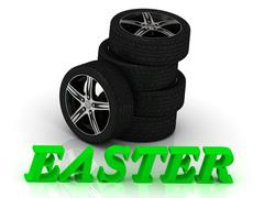 EASTER- bright letters and rims mashine black wheels on a white background Stock Illustration
