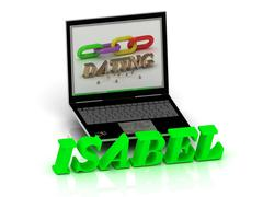 ISABEL- Name and Family bright letters near Notebook and  inscription Dating - stock illustration