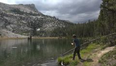Young Man Trout Fishing in Sierras Unicorn HD Stock Footage