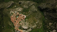 Eze Aerial looking down over Eze and coastline Stock Footage