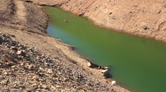 Extreme low water line at Oroville Lake in California during extreme drought. Stock Footage