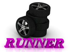 RUNNER- bright letters and rims mashine black wheels on a white background Piirros