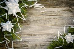 Christmas Border Design on a Wooden Plank - stock photo
