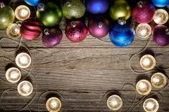 Christmas Border Design on a Wooden Background - stock photo