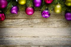 Christmas Border Design on a Wooden Board - stock photo