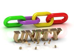 UNITY- inscription of bright letters and color chain on white background - stock illustration