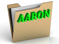 AARON- bright green letters on gold paperwork folder on a white background - stock illustration