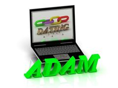 ADAM- Name and Family bright letters near Notebook and  inscription Dating on Stock Illustration