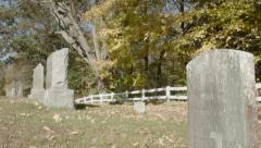 Cemetery in New England Autumn, Foliage and Tombstone Stock Footage