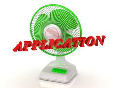 APPLICATION - Green Fan and bright color letters on a white background Stock Illustration