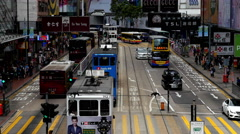 Time Lapse / Zoom Bus / Trolley Pedestrian Traffic in Central Hong Kong Stock Footage