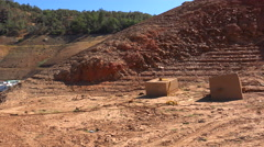 Pan across extreme low water line at Oroville Lake in California during extreme Stock Footage
