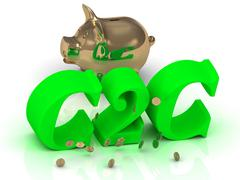 C2C - big bright green word, gold Piggy and money on white background Stock Illustration