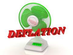 DEFLATION- Green Fan propeller and bright color letters on a white background - stock illustration