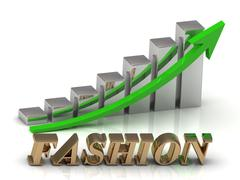 FASHION- inscription of gold letters and Graphic growth and gold arrows on wh Stock Illustration