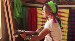 Padaung Woman Playing Guitar Stock Footage